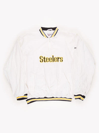 Reebok Pittsburgh Steelers Quater Zip Sport Sweatshirt White/Yellow/Black Size XL