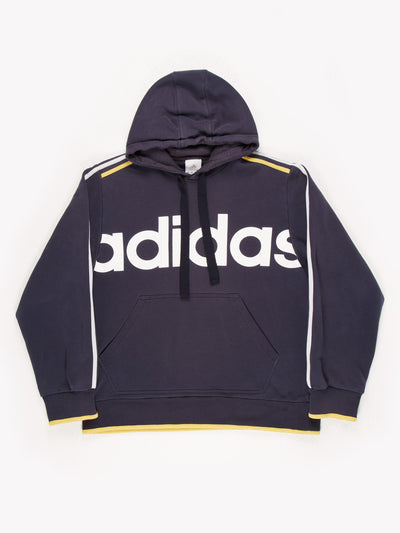 Adidas Spell Out Hoodie Blue/White/Yellow Size Large