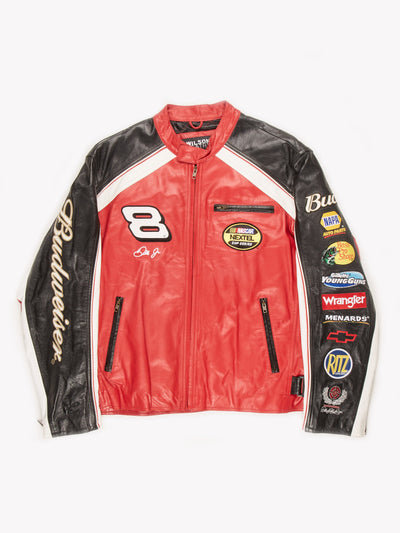 NASCAR Budweiser Dale Jr Leather Racing Jacket Red / White / Black Size XXL