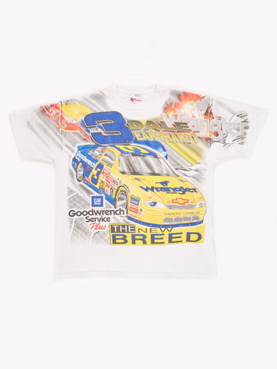 NASCAR Dale Earnhardt T-Shirt White / Yellow / Blue Size XXL