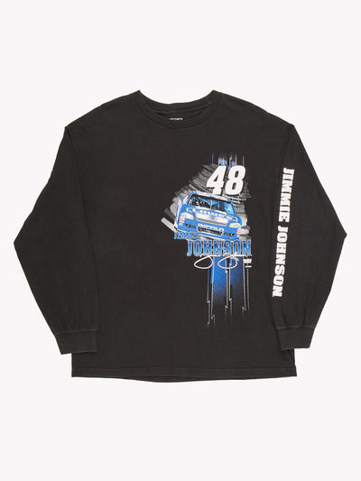 NASCAR Long Sleeve T-Shirt Black / Blue / White Size XL