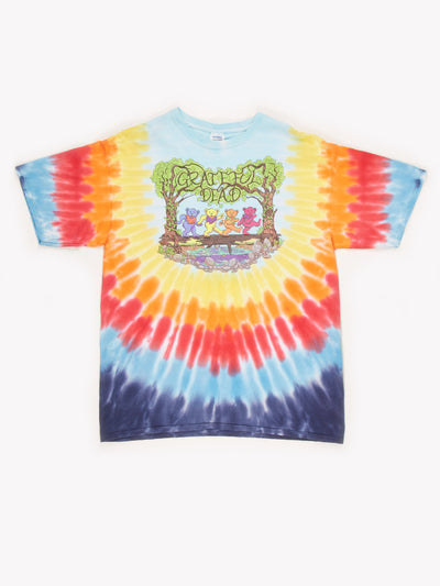 Greatful Dead Tie Dye T-Shirt Blue / Yellow / Red Size XXL