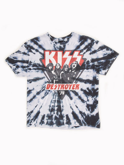 KISS Tie Dye T-Shirt White / Black / Red Size Large