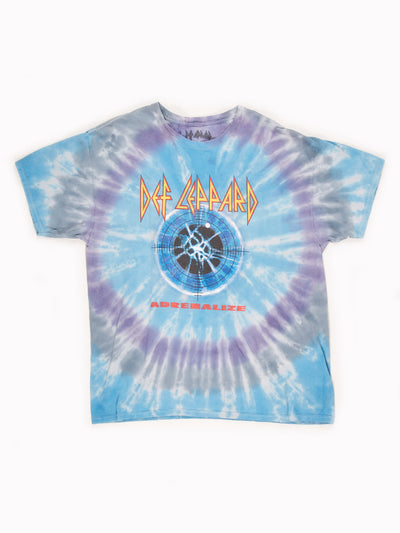 Def Leppard Tie dye T-Shirt Blue / Purple / Yellow Size XXL