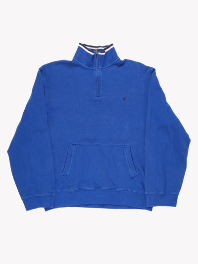 Polo Ralph Lauren 1/4 Zip Top Blue / White Size XXL