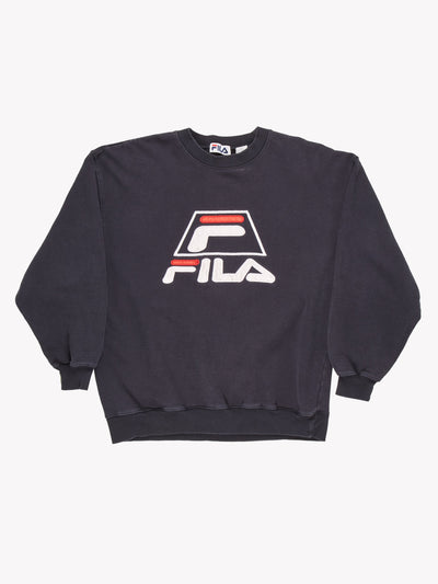 Fila Spell Out Sweatshirt Navy/White/Red Size XXL