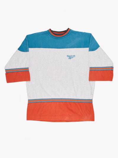 Reebok T-Shirt Grey / Teal / Orange Size XXL