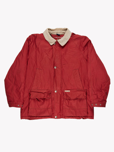 Tommy Hilfiger Jacket With Cord Collar Red/Beige Size XXL