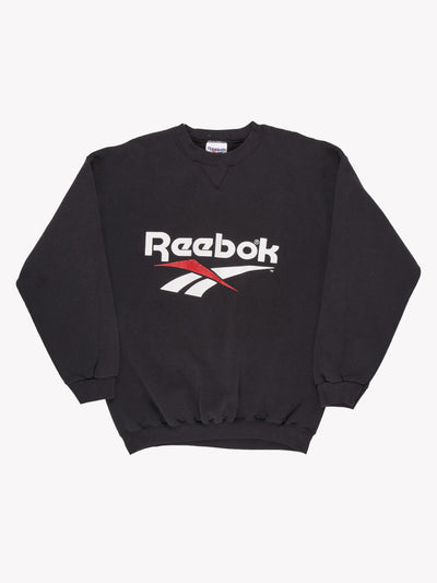 Reebok Spell Out Sweatshirt Black/White/Red Size XXL
