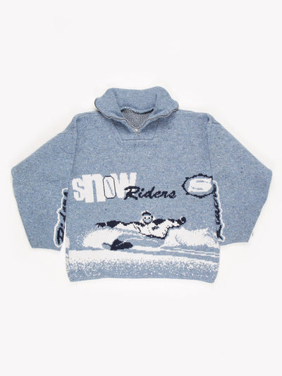 Snow Rider Patterned Knitted 1/4 Zip Fleece Blue Size XXL