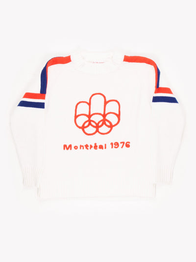 Montreal 1976 Olympics Knitted Sweater Cream / Red / Blue Size Medium