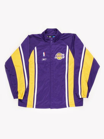 Reebok LA Lakers Zip Thru Jacket Purple / Yellow / White Size XXL