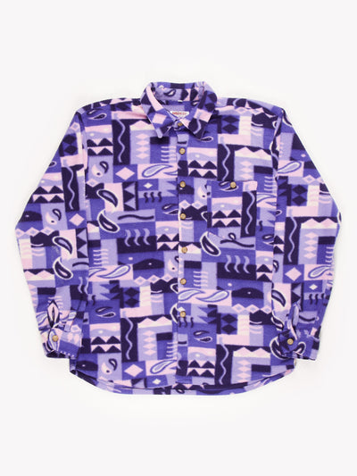 Patterned Fleece Shirt Purple/White/Pink/Blue Size XXL