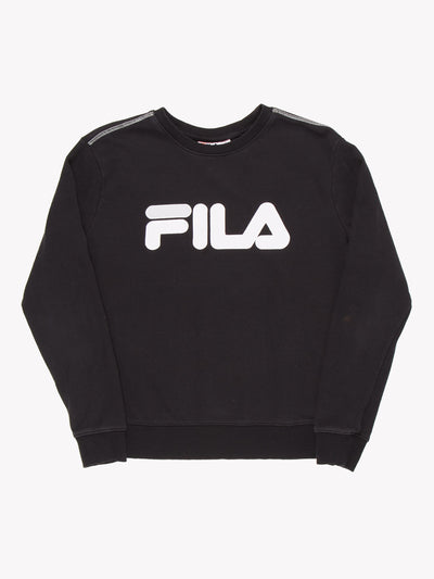 Fila Spell Out Sweatshirt Black/White Size Large