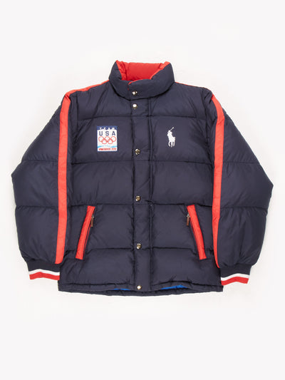 Ralph Lauren Team USA Vancouver 2010 Puffer Jacket Navy/Red Size Large