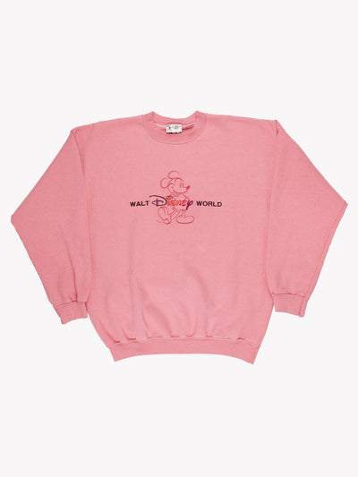 Walt Disney World Overdyed Spellout Sweatshirt Pink Size XXL