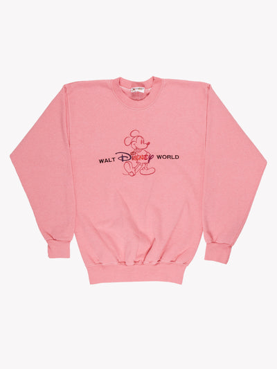 Walt Disney World Overdyed Spellout Sweatshirt Pink Size Small