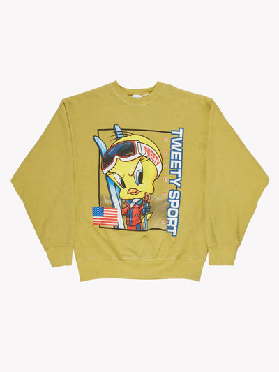 Looney Tunes 'Tweety Sport' Overdyed Sweatshirt Green/Blue/Yellow Size