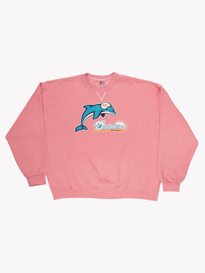 Miami Dolphins NFL Overdyed Sweatshirt Pink/Blue/Orange Size XXL