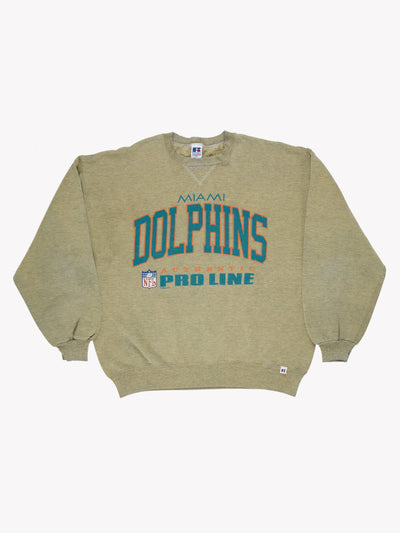 Miami Dolphins NFL Overdyed Sweatshirt Green/Blue/Orange Size XXL