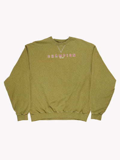 Champion Spell Out Overdyed Sweatshirt Green/Burgundy Size XXL