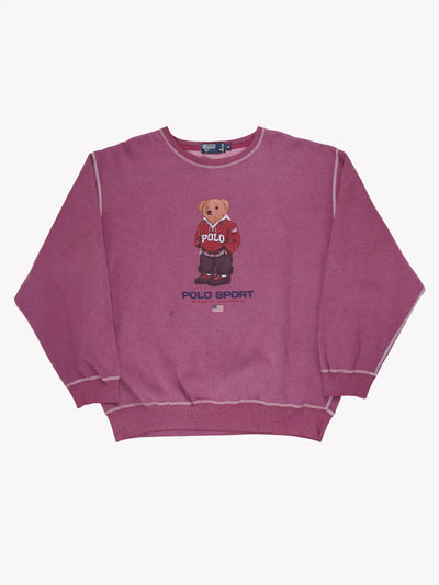 Ralph Lauren Bear Overdyed Sweatshirt Purple/Brown Size XXL