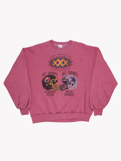 1996 Superbowl XXX NFL Overdyed Sweatshirt Purple Size XXL