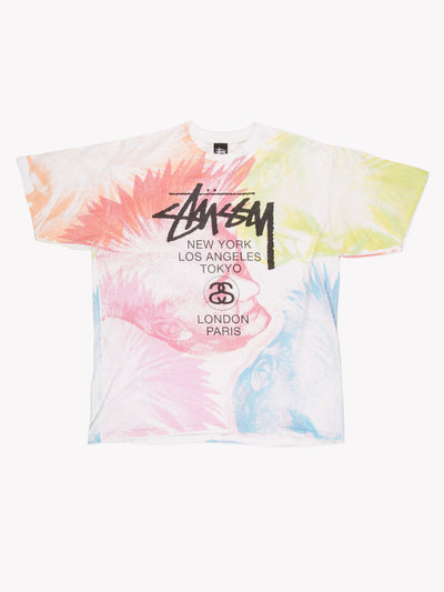 Stussy Spell Out T-Shirt White/Pink/Green/Blue/Orange Size XL