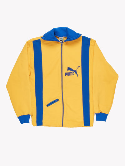 Puma Zip Thru Jacket Yellow/Blue Size Small