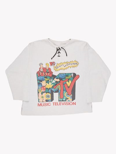 MTV Beavis And Butthead Sweatshirt White/Red/Yellow Size