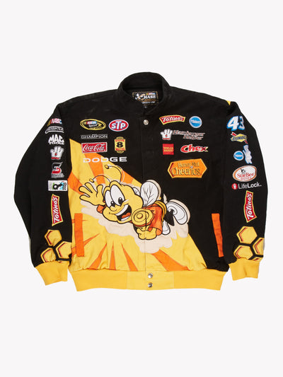 Nascar Honey Nut Cheerios Jacket Black/Yellow Size Large