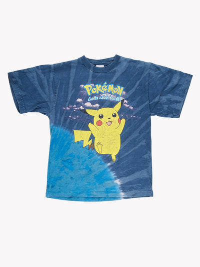 1990's Pokemon Tie Dye T-Shirt Blue/Yellow Size XS