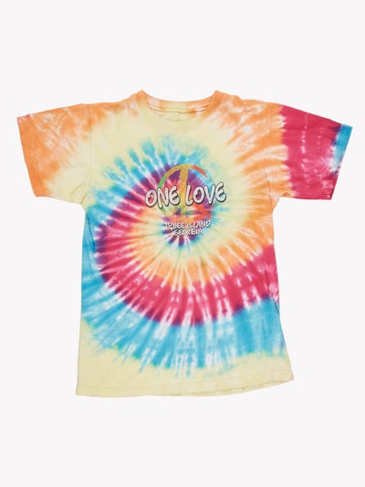 Vintage 'One Love' Tie Dye T-Shirt Pink/Orange/Blue Size Small