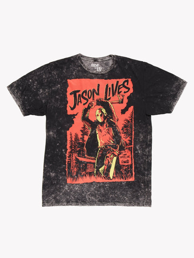 Friday The 13th 'Jason Lives' Acid Wash T-Shirt Black/Red Size Large