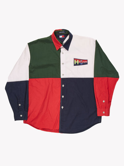 Tommy Hilfiger Sailing Gear Colour Block Shirt Green/Navy/Red/White Size Large