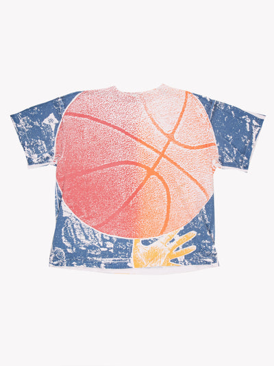 Vintage Basketball T-Shirt Orange/Blue/White Size XXL