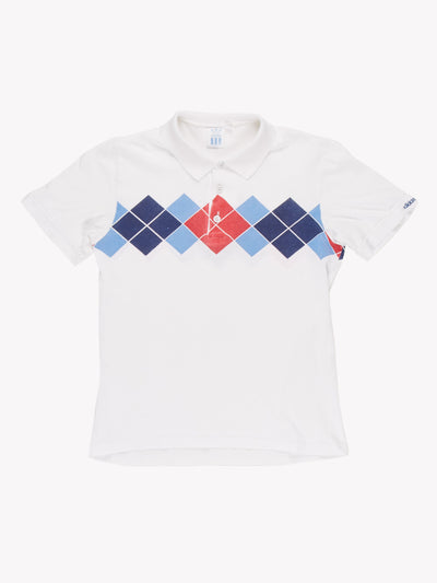 Adidas Polo Shirt White/Blue/Red Size XS