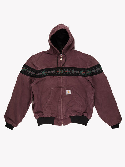 Carhartt Hooded Jacket With Aztec Print Purple/Black Size XL