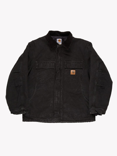 Carhartt Long Line Jacket With Cord Collar Black Size Large