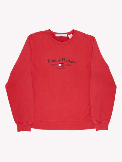 Tommy Hilfiger Spell Out Sweatshirt Red/Blue Size Medium