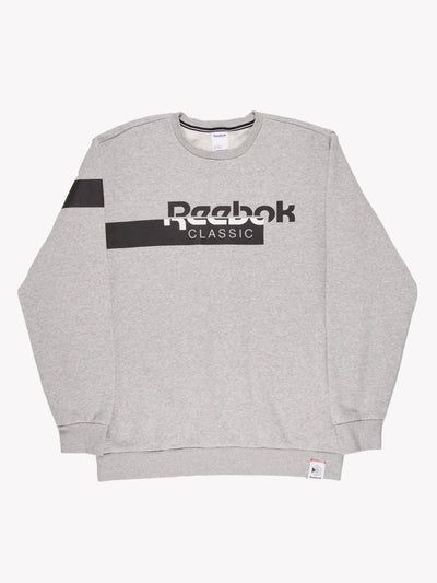 Reebok Spell Out Sweatshirt Grey/Black/White Size XL