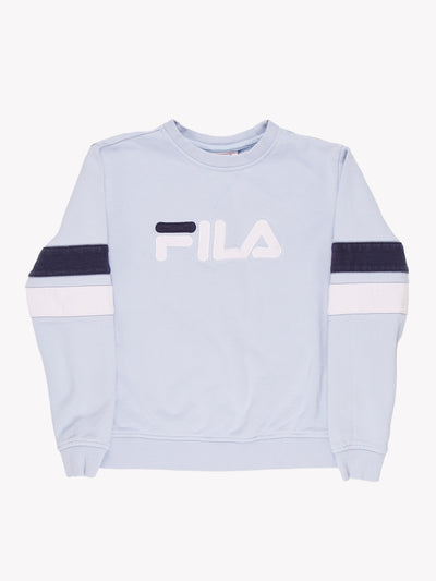 Fila Spell Out Sweatshirt Blue/White Size Small