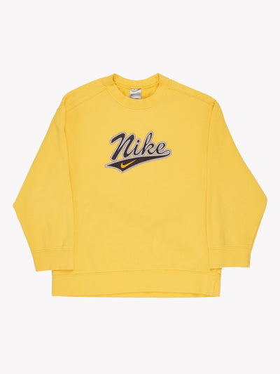 Nike Spell Out Sweatshirt Yellow/Black/Grey Size Medium