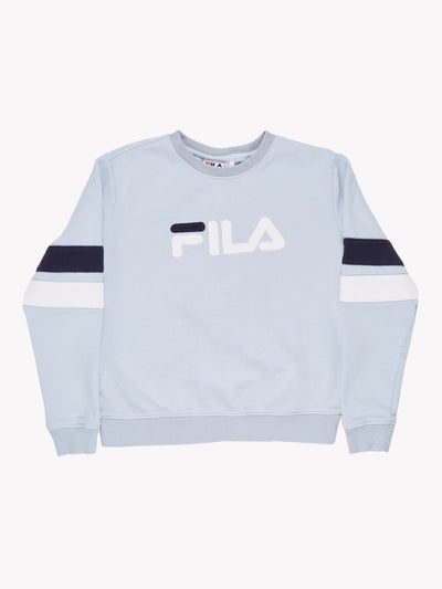 Fila Spell Out Sweatshirt Blue/White Size Medium