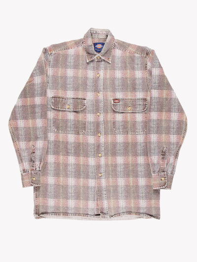 Dickies Heavyweight Plaid Shirt Brown Size Small