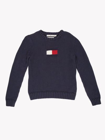Tommy Hilfiger Knit Jumper Navy/White/Red Size Small