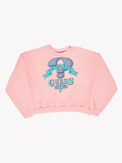 Guess Cropped Sweatshirt Pink/Blue Size Large