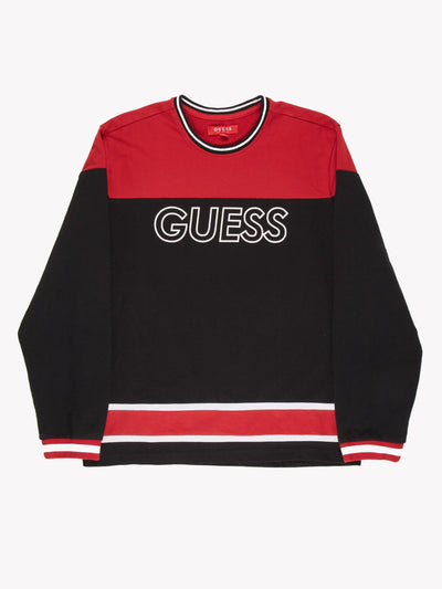 Guess Sweatshirt Black/Red Size Large