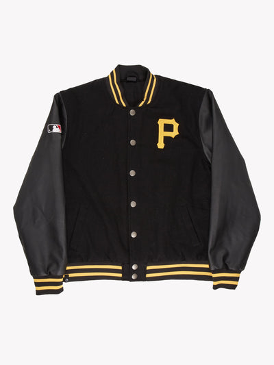 Pittsburgh Pirates MLB Jacket With Leather Sleeves Black/Yellow Size XL