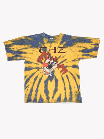 Looney Tunes 'Taz' Tie Dye T-Shirt Yellow/Blue Size Large
